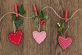 picture of mistletoe  - Christmas heart decoration with holly - JPG