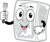 image of chisel  - Mascot Illustration Featuring a Block of Ice Holding an Ice Chisel - JPG