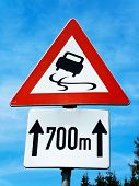 image of slippery-roads  - warning risk of skidding on slippery road - JPG