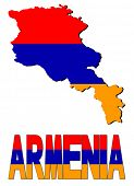 image of armenia  - Armenia map flag and text illustration - JPG