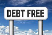 stock photo of debt free  - debt free zone or tax reduction today relief of taxes having good credit financial success paying debts for financial freedom road sign arrow - JPG