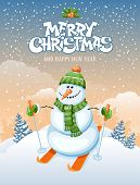 stock photo of snowman  - Christmas greeting card with cute snowman skier on winter landscape - JPG