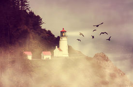 picture of flock seagulls  - a lighthouse with a flock of birds during dusk on a warm summer evening toned with a retro vintage instagram filter effect  - JPG
