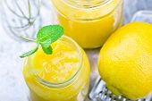 foto of curd  - the lemon curd and products for his preparation - JPG