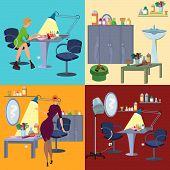 Постер, плакат: Beauty Salon Spa Flat People And Furniture