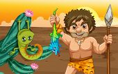 image of caveman  - Illustration of a caveman catching a lizard - JPG