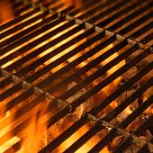 foto of flames  - BBQ Grill with Glowing Coals and Bright Flames - JPG