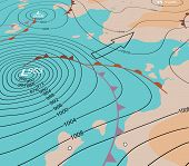 stock photo of generic  - Illustration of an angled generic weather map showing a storm depression - JPG