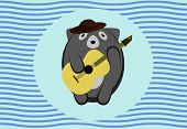 image of raccoon  - An adorable roundish cartoony raccoon in a hat on a vintage retro navy blue background with a circle and warped lines playing guitar - JPG