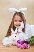 stock photo of bunny ears  - Cute bunnies with spring flowers  - JPG