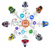 stock photo of network  - People Social Networking and Computer Network Concepts - JPG