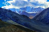 picture of jammu kashmir  - Rocky landscape of with ice peaks in background Ladakh Jammu and Kashmir India - JPG