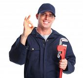 picture of plumber  - Plumber man with tools isolated over white background - JPG