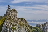 pic of bavarian alps  - Small chapel on a mountain in the Bavarian alps - JPG