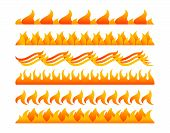 stock photo of infernos  - Fire design elements vector set on white background - JPG