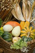 stock photo of cornicopia  - A wicker basket full of various pumpkins - JPG