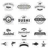 stock photo of logo  - Sushi Rolls Sashimi Retro Vintage Labels Hipster Logo design vector typography lettering templates - JPG