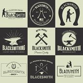 image of blacksmith shop  - Vintage blacksmith labels emblems and design elements - JPG