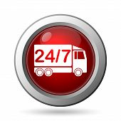 stock photo of delivery-truck  - 24 7 delivery truck icon - JPG