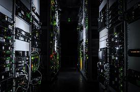 pic of cluster  - web network business rack center room enterprise hardware servers mounted computers cluster virtual data - JPG
