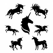 stock photo of animal silhouette  - Unicorn set of black silhouettes - JPG