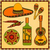 stock photo of sombrero  - Vector set of traditional mexican symbols - JPG