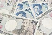 picture of yen  - 10000 Japanese Yen  and 1000 yen in background - JPG