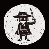 stock photo of zorro  - Mask Man Doodle - JPG