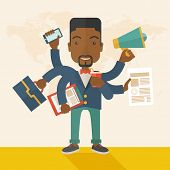picture of multitasking  - A young but happy african employee has six arms doing multiple office tasks at once as a symbol of the ability to multitask - JPG