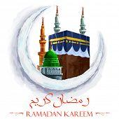 image of kaaba  - illustration of Kaaba in moon on Ramadan Kareem  - JPG