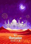 stock photo of eid ka chand mubarak  - illustration of Ramadan Kareem  - JPG