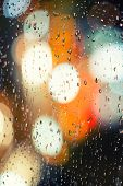picture of raindrops  - Raindrops on glass at night high quality photos for your designv - JPG