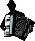 picture of accordion  - Musician Accordion Man With Hat Vector Silhouette Illustration - JPG