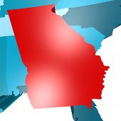 stock photo of usa map  - Georgia map on blue USA map image with hi - JPG