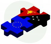 pic of guinea  - European Union and Papua New Guinea Flags in puzzle isolated on white background - JPG