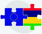 stock photo of mauritius  - European Union and Mauritius Flags in puzzle isolated on white background - JPG