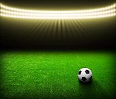 image of arena  - Soccer ball on green stadium - JPG