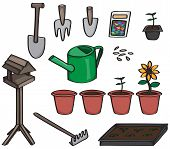 image of trowel  - Set of 14 cartoon gardening tools. Set includes a spade, a trowel, seeds, a seed packet, a bird table, a rake, terracotta pots with plants at different stages of growing, and a watering can.