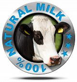 picture of cow head  - Metallic round icon or symbol with head of cow and text 100  - JPG