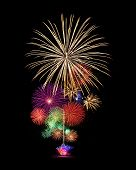 stock photo of firework display  - Fireworks display for new year and celebration event - JPG