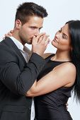 stock photo of hand kiss  - Hand kiss from a handsome man in studio - JPG