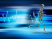 pic of x-rated  - Running skeleton on a background showing heart rate - JPG