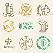 picture of brew  - Vector craft beer and brewery logos and signs in trendy linear style  - JPG