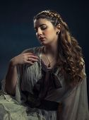 stock photo of nose ring  - Elegant Female With Braid And a Headband - JPG