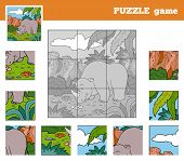 picture of rhino  - Puzzle Game for children with animals  - JPG