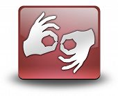 stock photo of nonverbal  - Icon Button Pictogram with Sign Language symbol - JPG