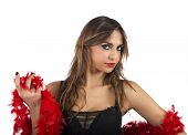 stock photo of pageant  - Portrait of a seductive girl with boa - JPG