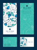 picture of swirly  - Vector blue green swirly flowers vertical frame pattern invitation greeting - JPG