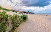 pic of virginia  - A shot of the Chesapeake Bay Bridge as seen from the Virginia Beach side of the Chesapeake Bay about 30 minutes prior to sunset - JPG