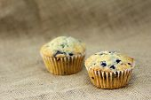 image of sackcloth  - muffin on burlap sackcloth homemade dessert breakfast health food - JPG
